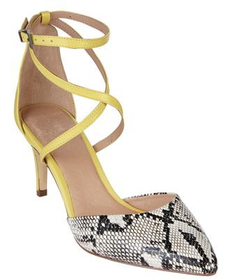 2. Yellow ankle-strap and python mix court (€40, Next)