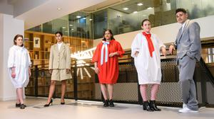 Giles Deacon's officewear collection for IWG put the emphasis on loose-fitting clothes. Photo: Matt Crossick/PA Wire