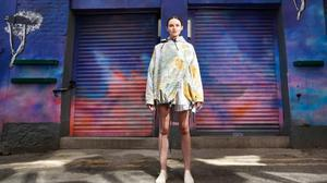Model Maria wearing a design by NCAD student Stephanie Finney from her Easing Restrictions collection. Photo: Leon Farrell/Photocall Ireland