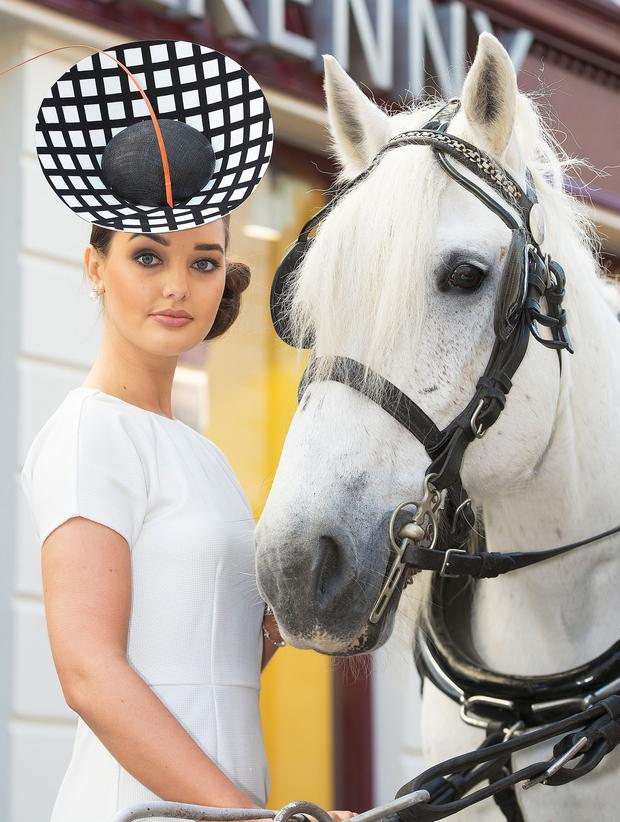 Katie Brill poses outside Kilkenny Shop in Galway to announce its sponsorship of the 'Best Dressed' prize at Ballybrit next July