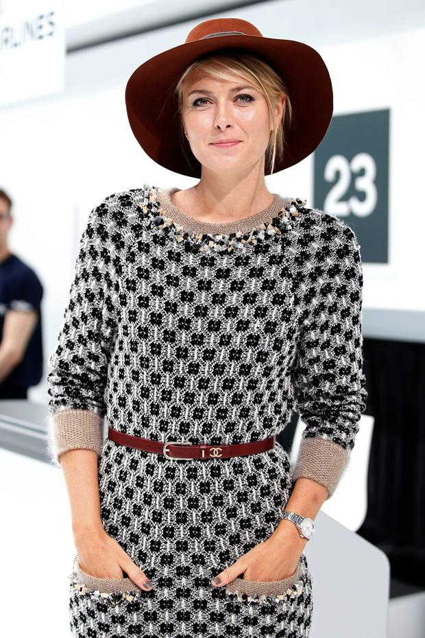 Russian tennis player Maria Sharapova at the Chanel Spring/Summer 2016 women's ready-to-wear collection in Paris