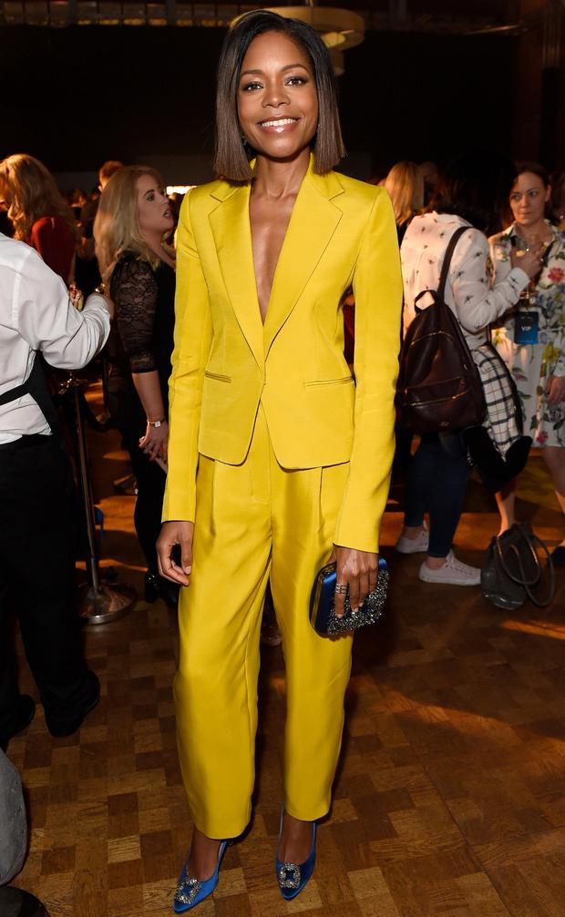We love Naomie Harris's yellow Roksanda two-piece with bold blue pumps and clutch. Photo: Getty Images