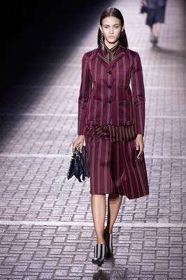 Stripe style: A model for Mulberry's spring-summer 2017 catwalk show  at London Fashion Week