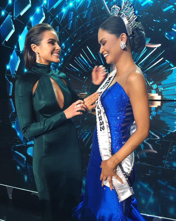 Former Miss Universe, American actress Olivia Culpo, congratulates Miss Philippines