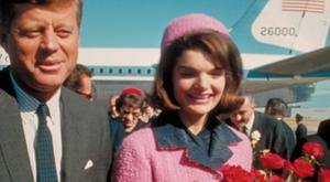 JFK with Jackie Kennedy in that famous suit