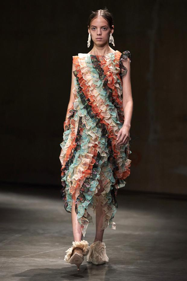 Romantic: Ruffles by Christopher Kane in London. Photo: AFP/Getty Images