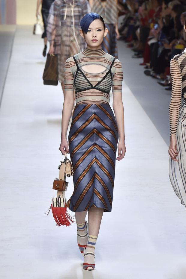 On trend: Pencil skirt from Fendi on the catwalk in Milan. Photo: Getty Images
