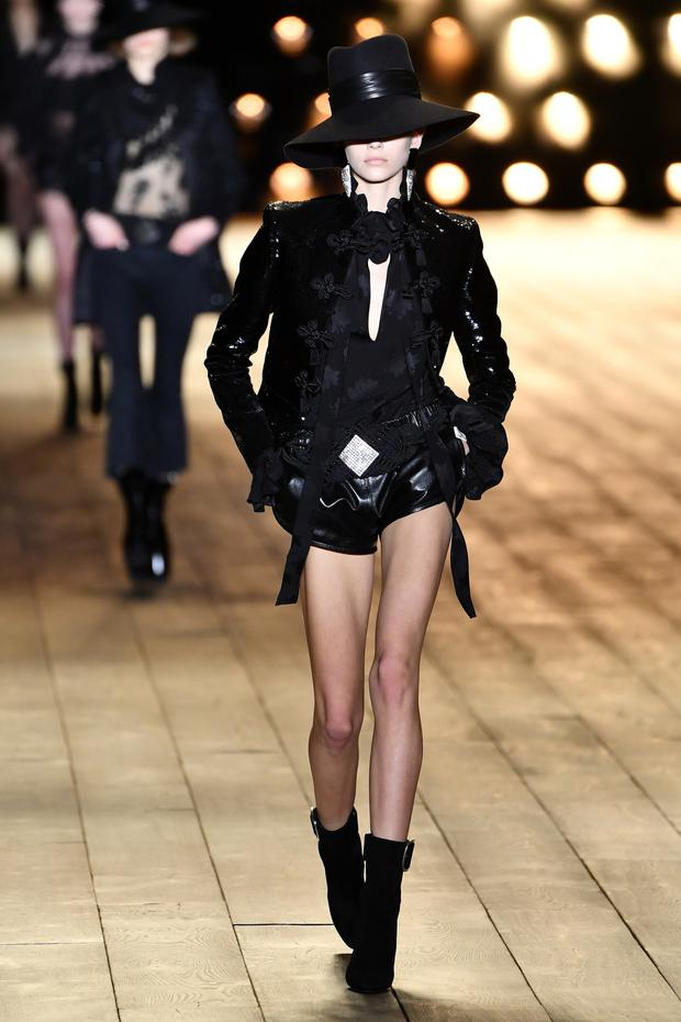 Black magic: Saint Laurent showed off moody partywear in Paris. Photo: Getty Images