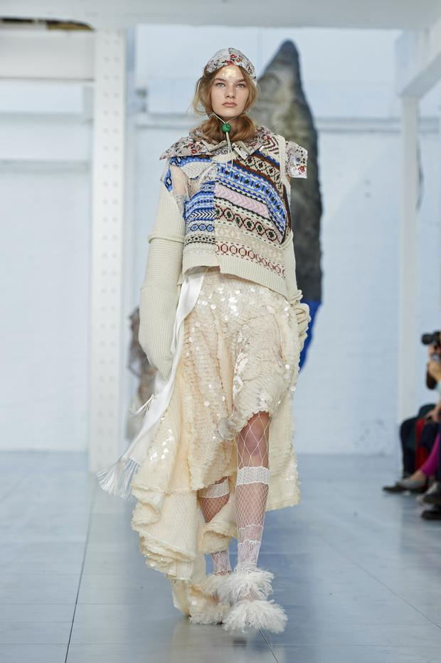 Fair Isle knits at Preen by Thornton Bregazzi in London. Photo: AFP/Getty Images