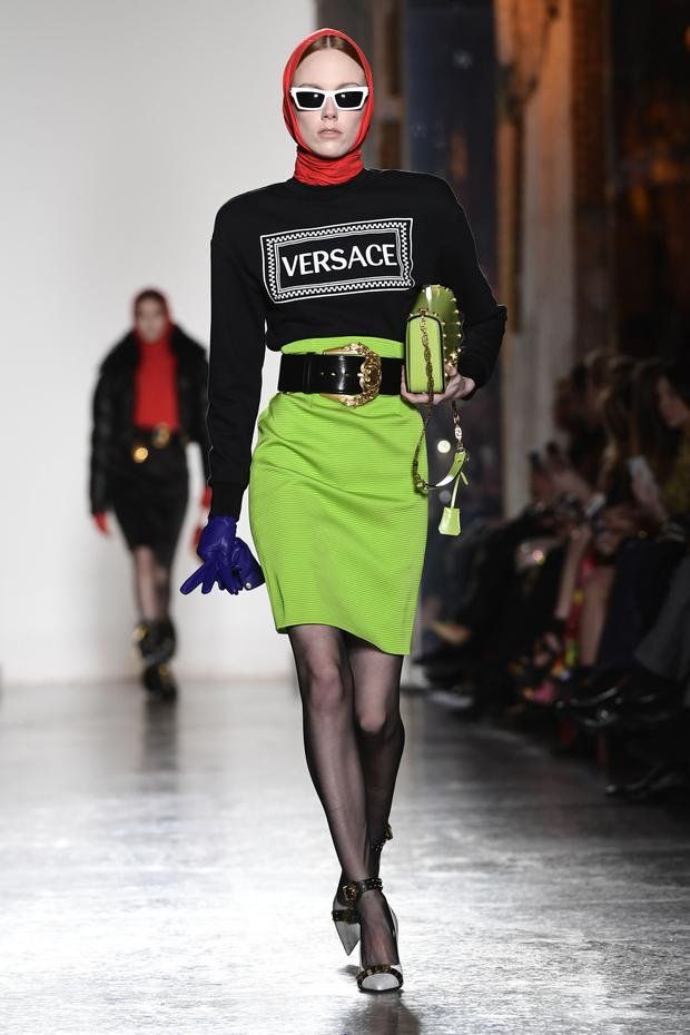 Head gear by Milan's Versace. Photo: AFP/Getty Images