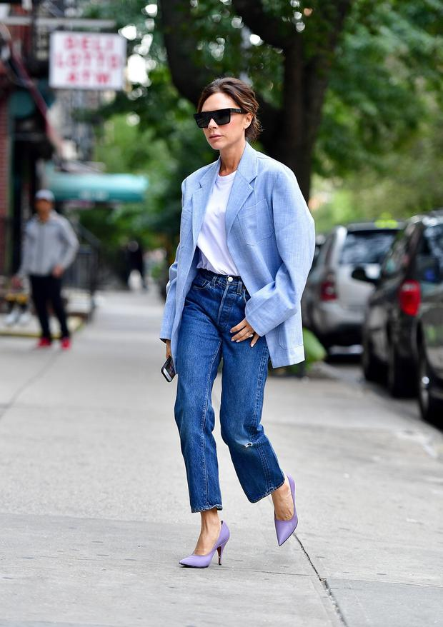 Or take your cue from one of VB's more accessible looks: a mannish blazer in pale blue, thrown on over a plain white tee and classic straight jeans. Photo: GC Images