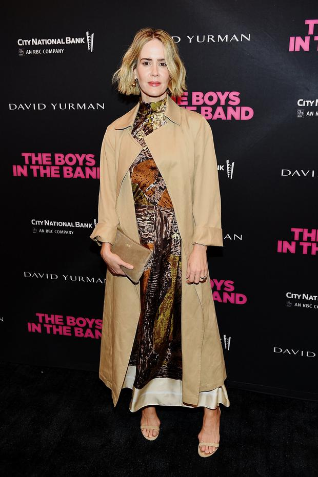 The sepia tones work best when worn head-to-toe, like Sarah Paulson in a printed Céline dress and trench. Photo: Getty Images