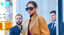 Victoria Beckham showcases the 2018 way to do neutrals. Photo: GC Images