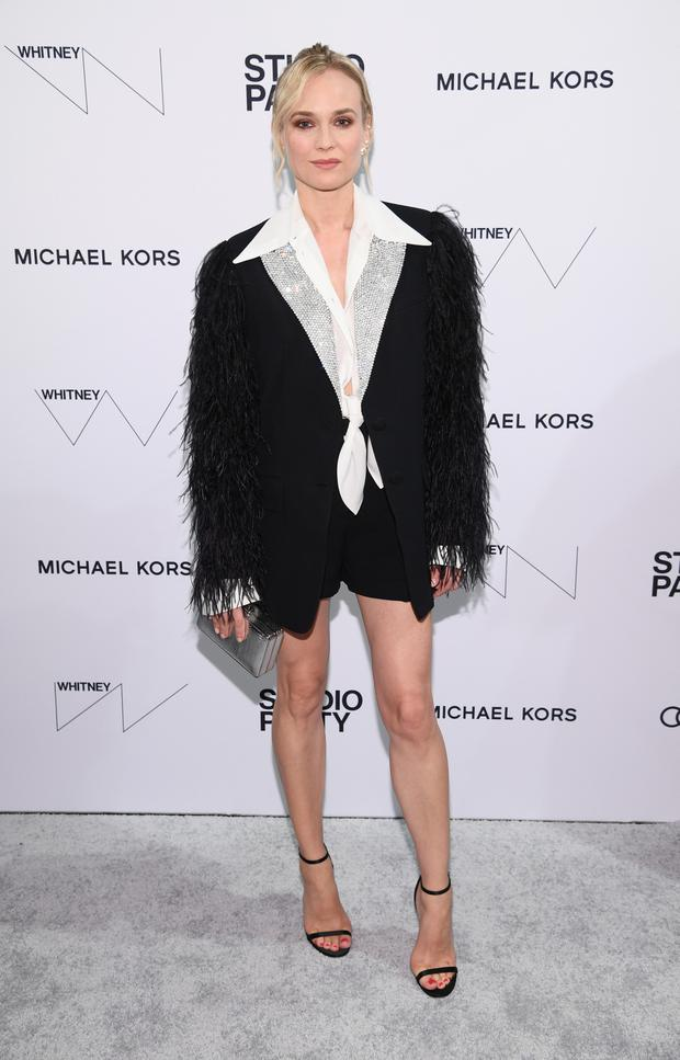 The smart short has become a celebrity favourite too, from the wintery leather pairs worn by Charlize Theron and Margot Robbie to the shorts suit, which has been seen in recent months on Jessica Chastain and Diane Kruger (pictured). Photo: Getty Images for Whitney Museum