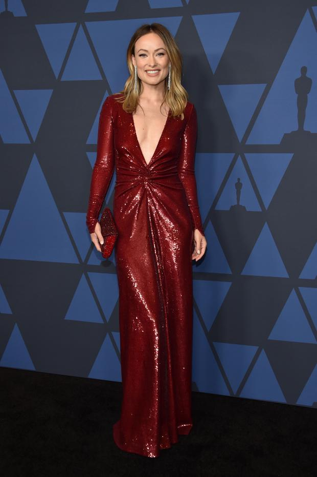 With its plunging neckline and shimmering sequins, it was the ultimate in diva dressing, and it later appeared on the red carpet on Olivia Wilde at the recent Governors Awards. Photo: AFP via Getty Images