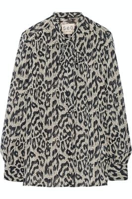 Pussy-bow leopard-print cotton and silk-blend gauze blouse by SEA (was €325.95, now €97.78, Net-A-Porter.com)