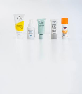Pictured, from left, Image Skincare Prevention + Daily Hydrating Moisturiser SPF 30+; SkinCeuticals Redness Neutralizer; Estee Lauder DayWear Advanced Multi-Protection Anti-Oxidant & UV Defence SPF 50; Guinot Newhite Brightening UV Shield SPF 50; Eucerin CC Creme SPF 50+