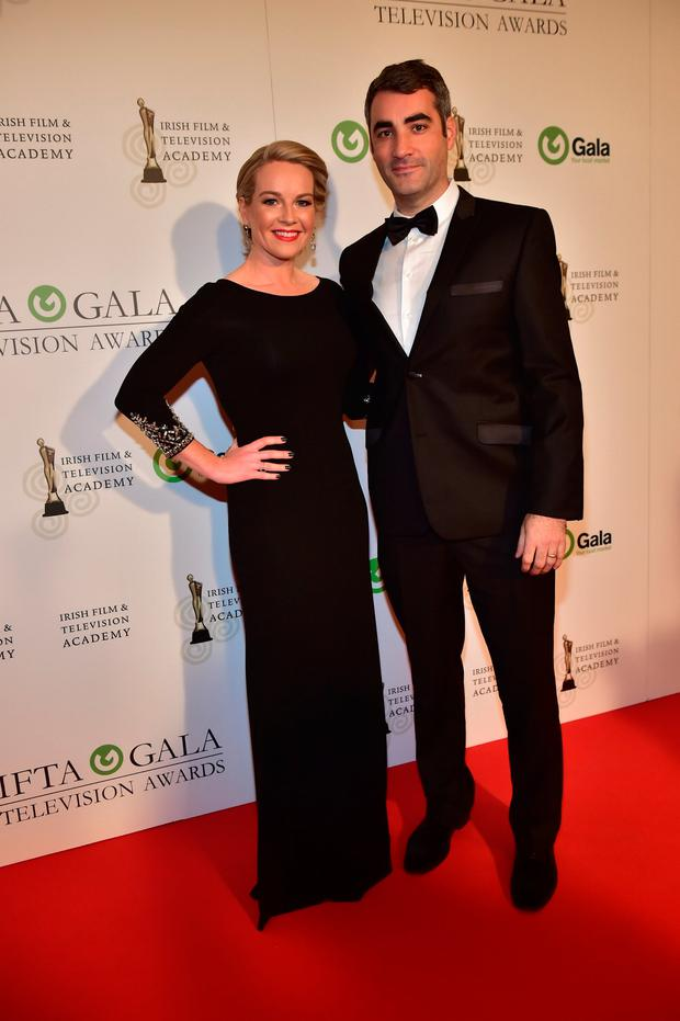 Claire Byrne and husband Gerry Scollan arriving on the red carpet for the IFTA Gala Television Awards at the Double Tree Hilton Hotel, Dublin. Photo: Michael Chester