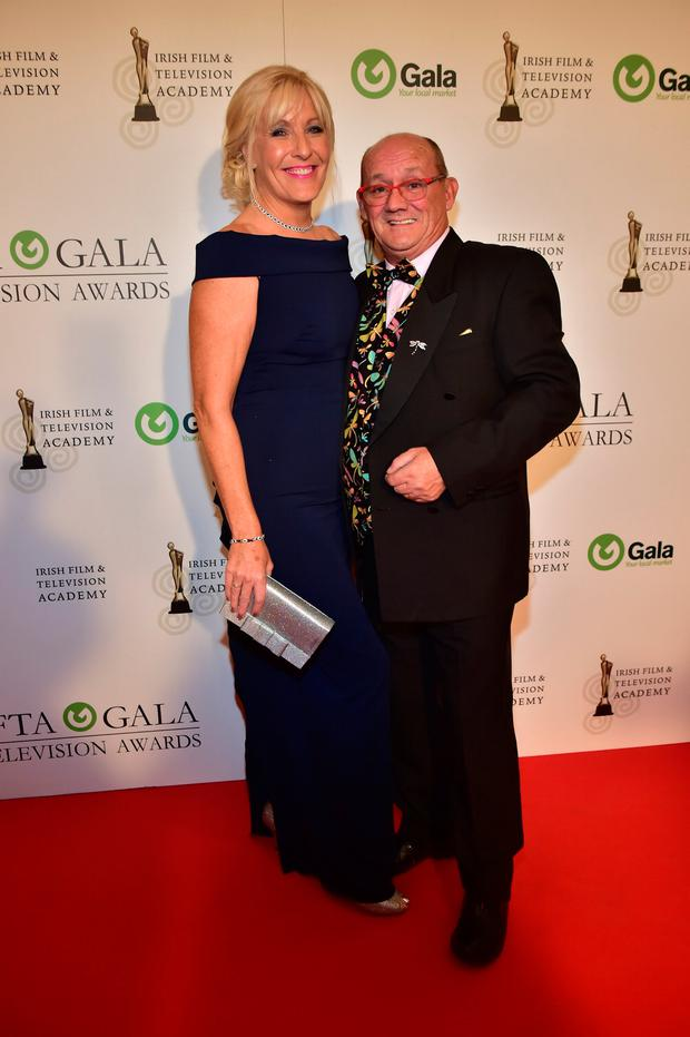 Brendan O'Carroll and wife Jenny Gibney arriving on the red carpet for the IFTA Gala Television Awards at the Double Tree Hilton Hotel, Dublin. Photo: Michael Chester