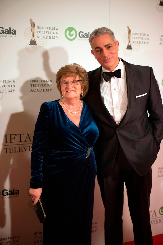 Baz Ashmawy and his mother Nancy at the IFTA gala television awards ceremony held at the DoubleTree Hilton, Dublin. Pic:Mark Condren