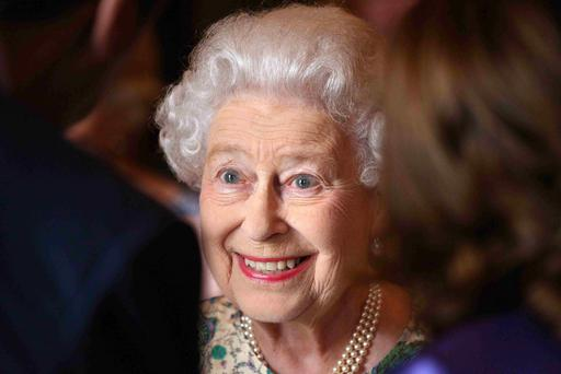 Britain's Queen Elizabeth smiles at a reception for the Winners of the Queens Award