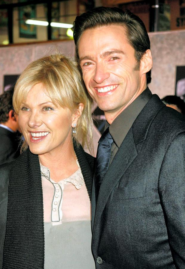 Hugh Jackman (R) poses with his wife Deborra-Lee Furness
