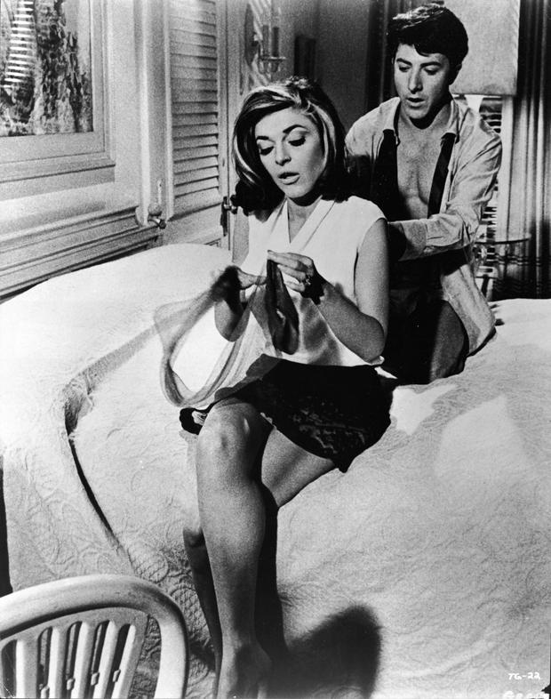 Flying: Anne Bancroft and Dustin Hoffman in 'The Graduate' (1967).