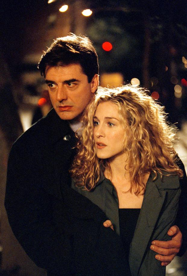 Carrie Bradshaw (Sarah Jessica Parker) and Mr Big (Chris Noth) in the TV adaptation of her best-selling book, 'Sex and the City'