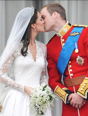 Kiss me Kate: Prince William kisses his new wife in front of the world's media in 2011. Photo Getty images