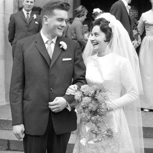 Groom Mr. Conor O'Dwyer and bride Miss Angela McGrann on the occasion of their wedding on June 5 1964 (Part of the NPA and Independent Newspapers Collection)