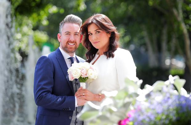 Stefanie Preissner and her husband Noel Byrne pictured after they got married on Friday. Picture: Gerry Mooney