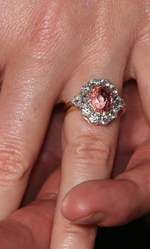 Princess Eugenie shows her engagement ring (Jonathan Brady/PA)