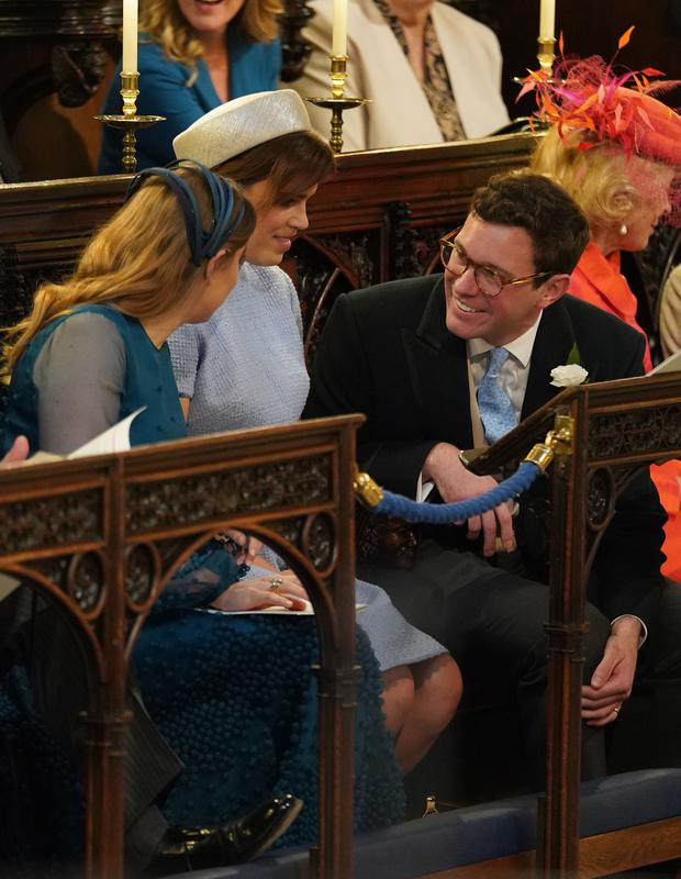 Princess Beatrice, left, Princess Eugenie and Jack Brooksbank were among the guests at the Duke and Duchess of Sussex's wedding (Jonathan Brady/PA)
