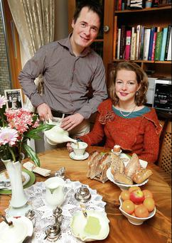 Alice Coghlan Zemlicka and Radek Zemlicka at their apartment in Islandbridge, Dublin. Photo: Steve Humphreys