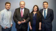 Presidential candidate Gavin Duffy on the Floating Voter Podcast. Pictured with Irish Independent political team Kevin Doyle, Philip Ryan and Laura Larkin Pic:Mark Condren 22.10.2018