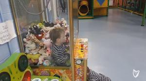 Jamie's dad said he took his eyes off him for five seconds and found him behind the glass of the machine.