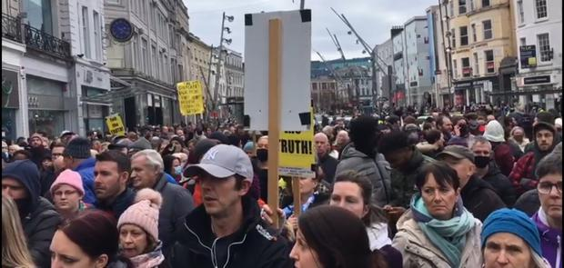 Demonstrators carried placards warning: 'Tell the Truth and Shame the Devil', 'End the Lockdown', 'Freedom' and 'Rally for Truth.'