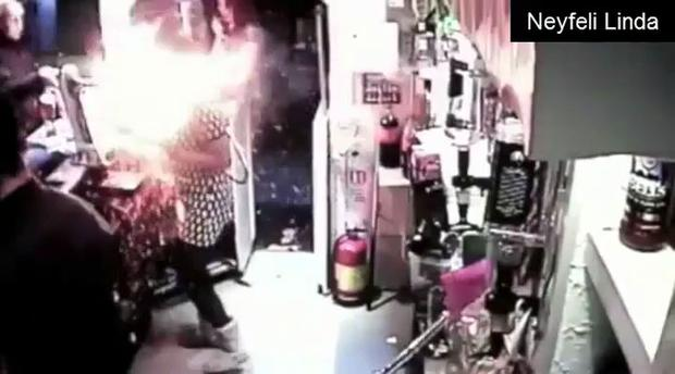 Exploding e-cigarette sets barmaid's dress on fire (Generated thumbnail)
