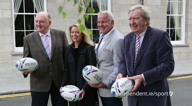 George Hook, Rachel Wyse, Brent Pope and Tom McGurk at the launch of CityJet Rugby World Cup Live
