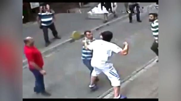 A full-on brawl breaks on the streets