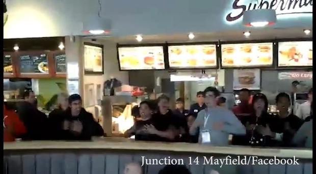 The students entertained diners with their version of the Haka