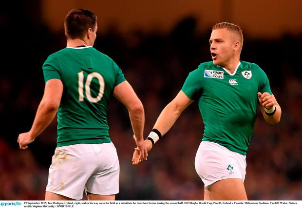 19 September 2015; Ian Madigan, Ireland, right, makes his way on to the field as a substitute for Jonathan Sexton during the second half. 2015 Rugby World Cup, Pool D, Ireland v Canada. Millennium Stadium, Cardiff, Wales. Picture credit: Stephen McCarthy / SPORTSFILE