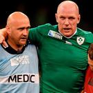 11 October 2015; Paul O'Connell, Ireland, shortly before leaving the pitch on a stretcher. 2015 Rugby World Cup Pool D, Ireland v France. Millennium Stadium, Cardiff, Wales. Picture credit: Stephen McCarthy / SPORTSFILE