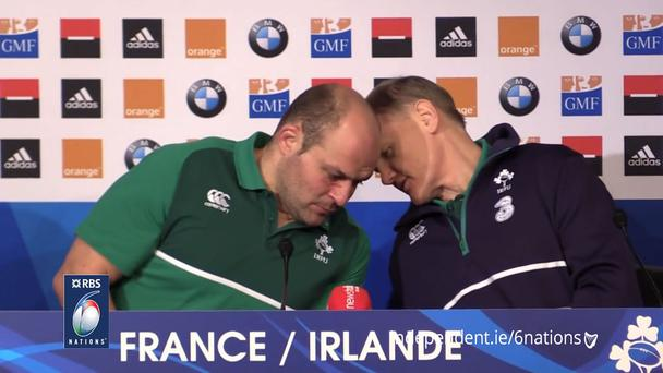 Joe Schmidt whispered something into the ear of Rory Best