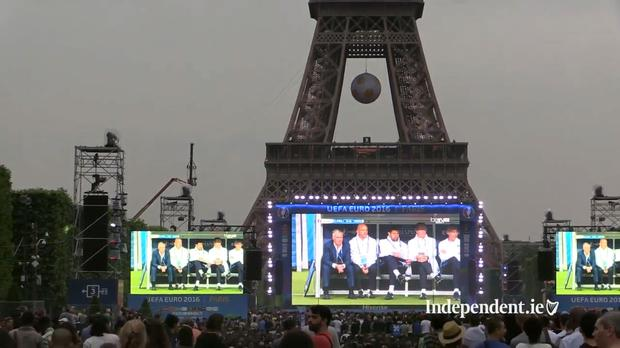 Fans watching the France and Romania game at the Euro 2016 Fanzone in Paris