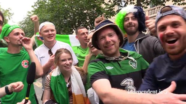 Fans outisde the Euro 2016 Fanzone in Paris