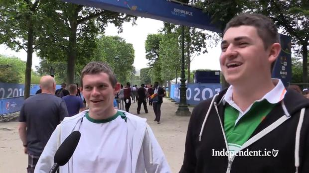Michael Kelly and Niall O'Shaughnessy at the Euro 2016 Fanzone in Paris