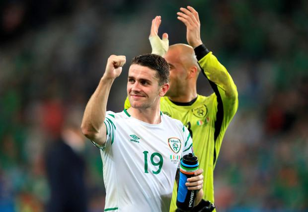 Republic of Ireland's Robbie Brady celebrates victory after the Euro 2016, Group E match at the Stade Pierre Mauroy, Lille. PRESS ASSOCIATION Photo.