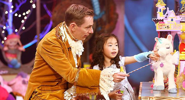 The Late Late Toy Show 2015 - toy tester Lara Ly Reddy (6) from Swords, Dublin and Ryan Tubridy. Part 1. Pic Andres Poveda