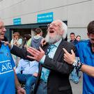 28/8/16 The Dubliners Eamon Campbell with Dublin fans Tommy Deans, Clane and Gerard Twohig, Lucan at Croke Park after Dublin's All-Ireland semi-final win over Kerry. Picture: Arthur Carron
